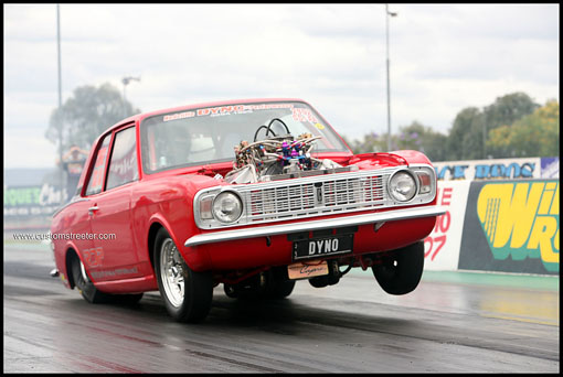 Ford Cortina V8 muscle car windsor fast drag fuel willowbank raceway red tubbed car automotive magazine extreme streetmachine tough