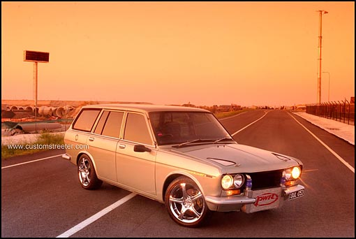 Datsun 1600 510 wagon, turbo powered with Nissan Sr20det engine. Complete vintage JDM Japanese performance vehicle. PWR radiators & Intercooler