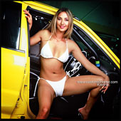 Kierina - Import Model, posing with fast mitsubishi evo, evolution, fast, drag race, horsepower, apc Racing Brisbane, dyno, white bikini, cute eurasian, car parts